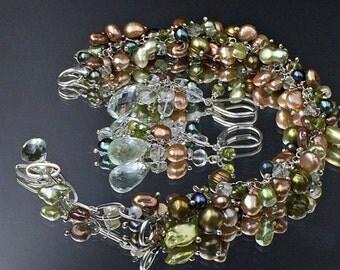 50% SALE Green Pearl Bracelet Wire Wrap Green Amethyst Vesuvianite Bracelet Set Green Champagne Pearl Cluster Dangle Bracelet Earrings Set S