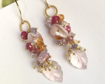 Pink Rose Quartz Leaf Cluster Earring, Blush Keishi Pearl, Wire Wrap Multicolor Gemstone, Wedding Jewelry Romantic Bohemian Earring Boho