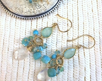 CUPID SALE Aqua Dangle Earrings Gold Fill Turquoise Cluster Earrings Wire Wrap Gemstones White Quartz Aqua Chalcedony Dangle Earrings Gold F