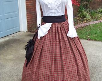 Civil War Long Skirt and black Sash one size fit all Olive Green,Tan and burgundy plaid cotton homespun Handmade