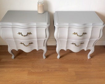French provincial slate grey UNION National fine furniture nightstand hand painted end table pair