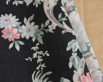"""French Vintage Fabric Floral Shabby Cotton Print Rare Antique Period c.1900 Black Elegant Country House Cushion Pillow Cloth 30"""" wide x 20"""""""