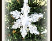 Glistening Beaded Snowflake Ornament /Glistening Beaded Snowflake Handcrafted Ornament (Ready to Ship)