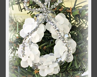 Frosted and Glistening Beaded Wreath Ornament /Frosted and Glistening Beaded Wreath Handcrafted Ornament (Ready to Ship)