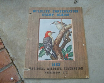 1953 national wildlife federation conservation stamps and album deer, birds,trees, ducks,fish,