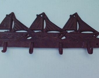 Cast Iron SHIPS Wall Hooks Hanging Rack Nautical