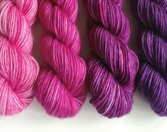 Hand dyed semi-solid yarn - single ply superfine alpaca/merino/silk double knit wool. 4x50g pink purple ombre shift gradient, soft wool yarn