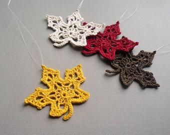 4 Crochet Maple Leaf Ornaments -- Multicolored Autumn Leaves -- Assortment M7
