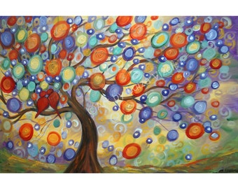 ORIGINAL Painting LOVE Music Abstract Landscape Whimsy Tree of Life BIRDS Canvas Direct from Artist Luiza Vizoli