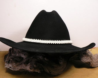 Cowboy / Cowgirl Rattlesnake Vertebra Hatband / Deer Antler bead