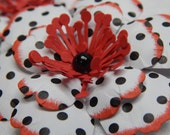 Fun Black, White and Red Polka-Dotted Flowers-Set of 3