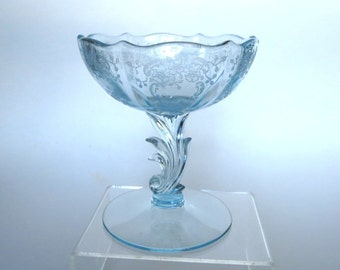 Fostoria Glass Meadow Rose Etch BLUE Compote or Footed Bowl