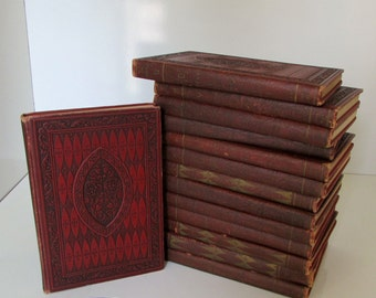 Antique Set of Encylopedias 1936 The American Encyclopedia Red Art Deco Covers Not Complete 14 volumes