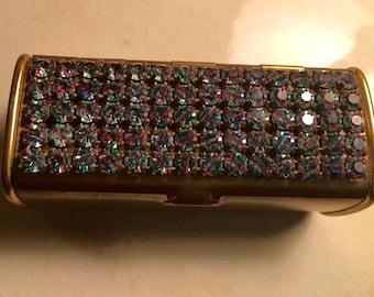 Vintage Wiesner Trickettes Lipstick Case - Jeweled Rhinestone 1960
