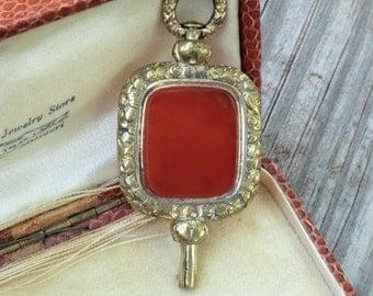 Victorian Large Pocket Watch Key Fob Carnelian Double Side Steampunk Pendant