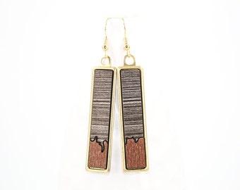 Modern Geometric Dangle Earrings - Two-Tone Glossy Laminate - Laser Cut Irregular Edge Design in Brass Setting (Copper w/ Gray Wood)