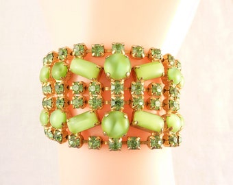 Vintage Light Green Bead and Rhinestone Openwork Gold Tone Costume bracelet