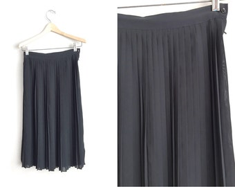 Size XS // PLEATED SKIRT // Black Maxi Skirt - Semi-Sheer - Knife Pleats - Vintage '90s Jonathan Martin.