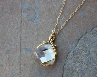 Champagne and Gold Crystal Necklace - yellow/gold briolette Swarovski crystal - 14k gold filled chain - free shipping in USA