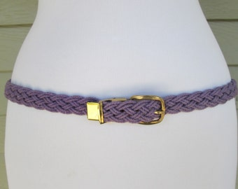 Thin Purple Braided Belt S to M