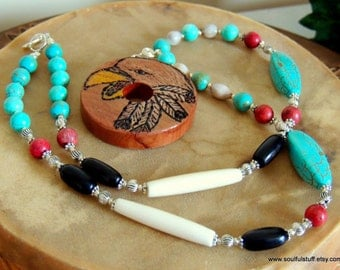 Eagle Cedar Pendant, Horn and Bone Necklace, Turquoise Jewelry, Handcrafted Jewelry, Native Style, Tribal Jewelry, Pow Wow Jewelry
