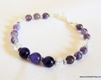 Amethyst and Crystal Bracelet, Sterling Silver, Handcrafted Jewelry, Gemstone Jewelry, Purple and Silver