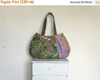 On Sale Large Hobo BERRY MOJITO = bright floral hot pink purple green greek key burlap metallic polka dot vegan leather roomy handbag jennjo