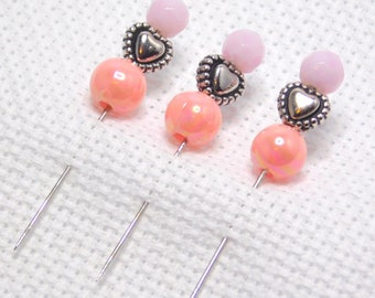 Counting pins, Stick Pins, Cross stitch, NeedleCraft, Embroidery, Pink