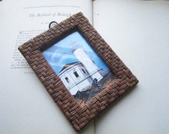 Vintage Wicker Frame * Lighthouse * Framed print *  *Bandon Oregon * Vintage Beach Sea Ocean decor * Lighthouse