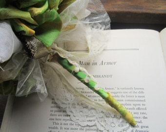 Vintage Fabric Bouquet * Pommery * Vintage Weddings * brides and Bridesmaids * Vintage Fabric Poms * Fabric Flowers
