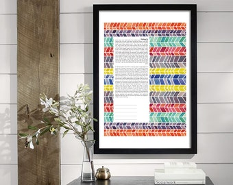 Chevron Ketubah || Jewish wedding contract illuminated wedding vows