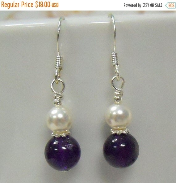 ON SALE 20% OFF Amethyst stone and glass Pearl dops earrings in silver