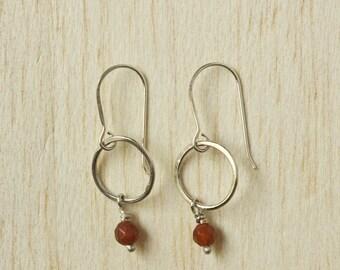 Silver and Carnelian Gemstone Earrings. Beaded Semi-Precious Stones, Crystal, Sterling Silver, Circle, Drop