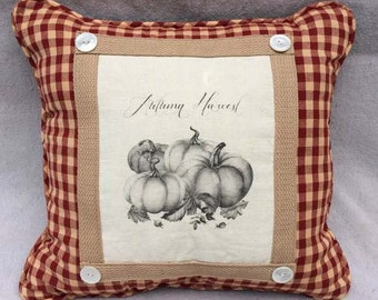 Fall Harvest Pillow | French Country Decor | Farmhouse Decor | Linen Print | Handmade throw pillow | Pumpkins and Burgandy Gingham