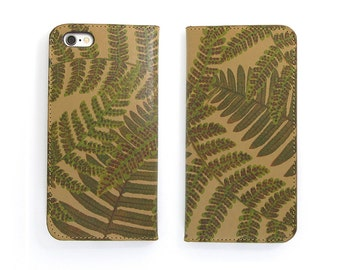Leather iPhone 7 case, iPhone 6s Case, iPhone 6s Plus Case, iPhone 5/5s Case - Woodland Fern (Exclusive Range)
