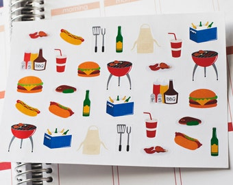 BBQ Planner Stickers Perfect For The Erin Condren Planner Stickers Summer Planner Stickers Cookout Stickers BBQ Grilling Stickers