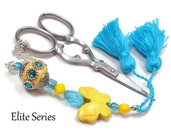 Scissor Fob Yellow Butterfly Blue Scissor Minder Beaded Scissor Keeper Needlepoint Quilting Sewing Cross Stitch