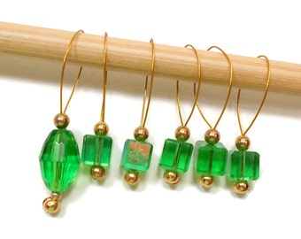 Knitting Stitch Markers Beaded Emerald Green Snagless