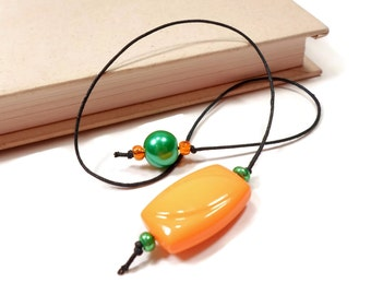Book Thong Beaded Bookmark Orange Green Book Cord Book String Gift under 5 Teacher Gift Gift for Student