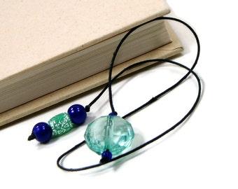 Beaded Bookmark Aqua Cobalt Blue Book Book Thong Cord String Bookmark Gift under 5 Book Club Teacher Gift
