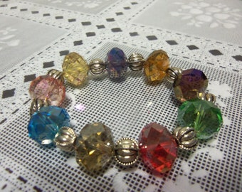 """8"""" Large Bold Faceted Glass Assorted Color Beaded Stretch Bracelet"""