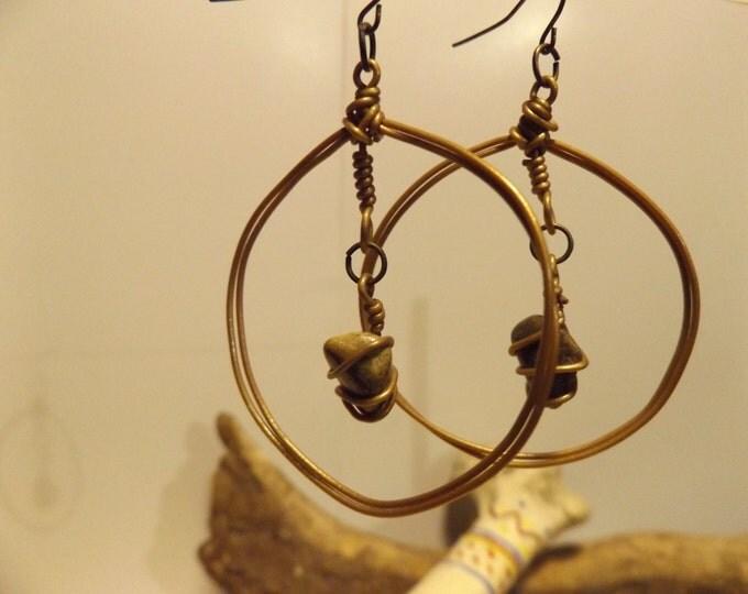 Tumbled Stone Healing Earrings, Native American Jewelry, Healing Jewelry, Tumbaled Healing Stones