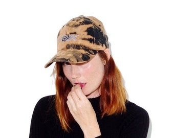 OMG HALF OFF motocross Fox hat  // size large // black hat custom bleached bleach dye tie dye wide brim hat dad hat baseball cap baseball ha