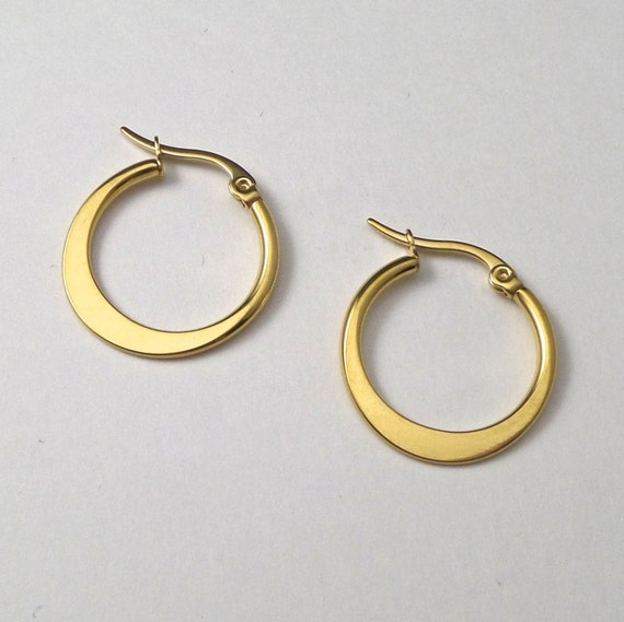 1 Pair of Gold Anodized 316L Surgical Steel Hoop Earrings Engravable Ear Wires