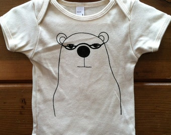 Bear Onesie Organic Cotton Natural Baby or Tshirt for Kids