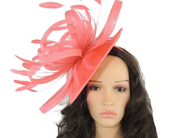 Milion Dollar Coral Fascinator  Hat for Weddings, Occasions and Parties