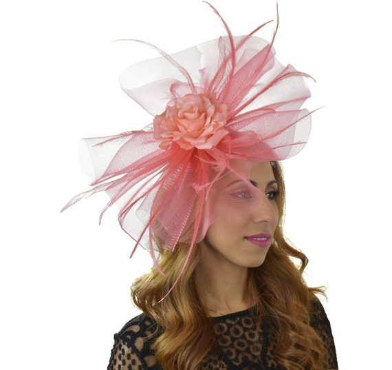 Coral Pink Nomara Fascinator Hat For Kentucky Derby Ascot