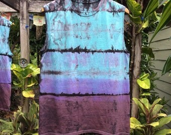 Mens  Shibori purple rain tie Dye tank top size Medium