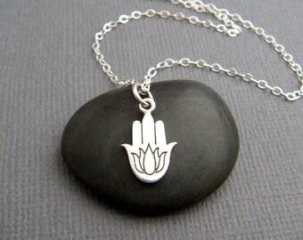 "small hamsa hand with lotus necklace. etched sterling silver. zen yoga yogi pendant protection faith symbol jewelry hamesh khamsa charm 1/2"""