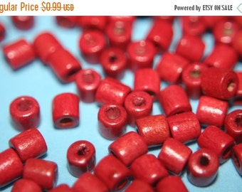 FALL CLEARANCE CLOSEOUT Sale - Blood Red Wood Tube Beads - 5mm - 100 pcs